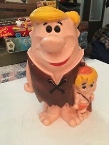 "Vintage 1971 Barney Rubble and Bam Bam Giant 13"" Bank Flintstones"