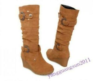 Womens Mid Calf Boots Faux Suede Wedge Heel Pull On Casual Buckle Rivet Shoes