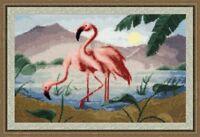 Counted cross stitch kit Rose Flamingo Sunrise Lake Nature by Golden Fleece
