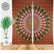 Peacock Mandala Cotton Window Door Curtains Dorm Decor Tapestry Wall Panels Set