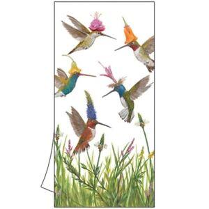 "New  2 Cotton Kitchen Bar Towels 18x26"" Vicki Sawyer MEADOW BUZZ Hummingbirds"