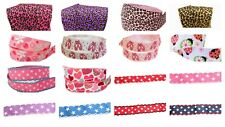 """16x1m Grosgrain Printed Art Craft Ribbons Bundle Mixed 22 25 mm 7/8"""" 1"""" Pack"""