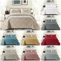 Ruffle Embossed Quilted Bedspread Bed Throw Single Double King Size Bedding Set
