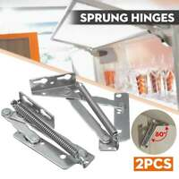 2X Stainless Steel Sprung Hinges Cabinet Door Lift Up Flap Top Support