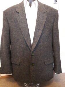 mens green/brown harris tweed jacket / coat 100% wool 46R , 2 button