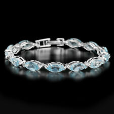 Sterling Silver 925 Natural Marquise Blue Topaz Tennis Bracelet 7.75 Inch