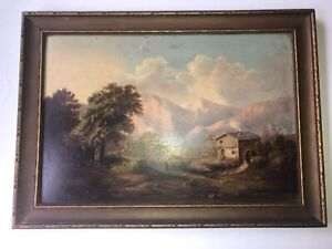 "Vintage Original Oil Painting Mill on Farm Framed Unsigned 17 1/2"" x 12 See pics"