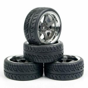 1/10 12MM Hex Rubber Tires Wheel Rim Set For HPI HSP Racing RC Car Model 4PCS US