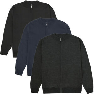 Mens Knitted Full Zip / Sleeve Cardigan Plain Classic Style Fine Cardi Jumper
