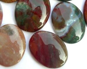 Natural Ocean Jasper Palm Stone Rock Crystal Healing Reiki Polished Worry Stone