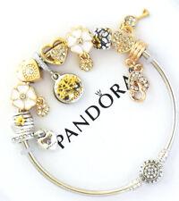 "Pandora Bracelet Gold Silver Bangle Wife Mom ""Tree of Life""  European Charms NIB"