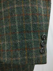 Haggar Tweed Check Sport Coat Jacket Vintage Green Wool 3 Button Blazer Mens 46R