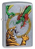 Zippo Chinese Dragon Design Street Chrome Windproof Pocket Lighter, 29837