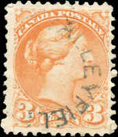 Canada Used 1873 3c F-VF Scott #37iii ORANGE RED PERF 11.5x12 Small Queen Stamp