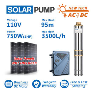 """3"""" AC/DC Solar Powered Bore Well Water Pump 1HP Submersible Hybrid Underwater"""