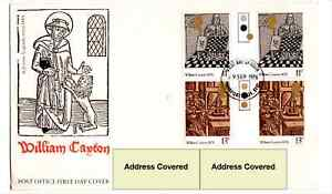 Great Britain 1976 William Caxton Gutter Pair FDC showing 11p Misplaced Queen...