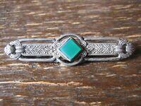 edle Art Deco Krawattennadel Brosche Stabbrosche 835er Silber grüner Achat