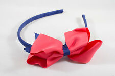 Unit of 6 Large 4 Inch Red/Ink Blue Bows on Hair Bands Grosgrain