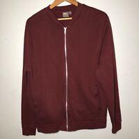 ASOS Mens Bomber Jacket Fleece Cotton Fabric Maroon Red Size M VGC