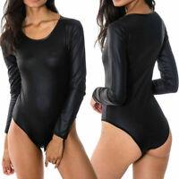 Ladies Womens PVC Wetlook Long Sleeve Leotard PU Leather Bodysuit Top Plus Size