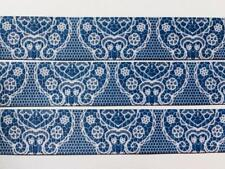 "BB Ribbon DENIM BLUE LACE 2m grosgrain 1"" 25mm lace printed pattern"