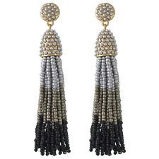 Boucles d`Oreilles Doré Tassel Pompon Mini Perle Multicolore Gris Noir AA22