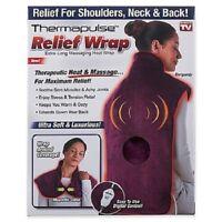 ThermapulseReliefWrap FullBackHeatingPad MassagingNeck Shoulder Pain (BURG