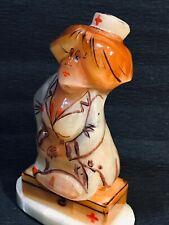 Girl figurine selenite handmade nurse natural stone original painting souvenir
