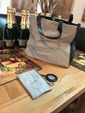 Estee Lauder grey bag with a purse and mirror