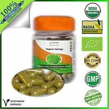 Organic 100% Moringa Capsules - MULTIVITAMIN SUPPLEMENT- 500mg (100 Per Bottle)