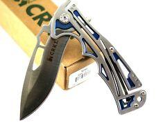 "CRKT NIRK Tighe 2 Knife 3 ¼"" AUS8 S. Steel Blade SS Handle w/ Blue TiNi Interior"
