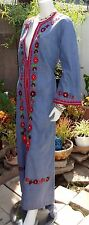 Vtg 70s Ethnic Floral Embroidered Oaxacan Mexican Maxi Dress Boho Peasant Blue