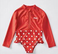 Girls size 7 Long sleeve FILA SAGE Swimsuit bathers RED white dots  UPF50+ NEW