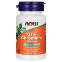 Now Foods GTF Chromium 200mcg, 100 Tablets  Supports Healthy Glucose Metabolism