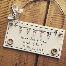 New Home Gift Housewarming Plaque Sign Moving Present Sweet Bunting Personalised