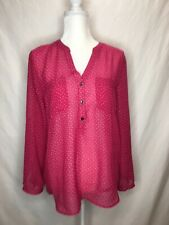 GAP Women's Medium M Blouse Shirt Sheer Career Pink Polka Dots Pockets Buttons