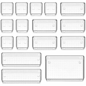 16 x Clear Drawer Organizer Desk Drawer Tidy Divider Storage Box for Office Home