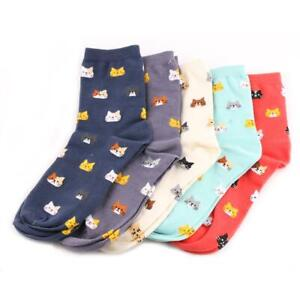 Cat Kitty Face Socks 1 Pair Ladies One Size Cute Gift 5 Colours Cotton UK Seller