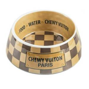 Checker Chewy Vuiton Pet Bowl NEW