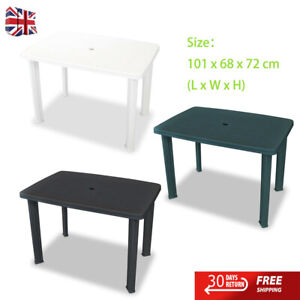 Garden Table Rectangular Plastic Outdoor Camping Table 101x68x72cm 3 Colours New