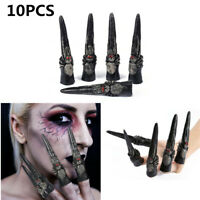 10PCS Horror Black Spider Fake Fingers Nails Claws Costume Halloween Party Props