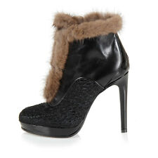 VIKTOR & ROLF New Woman Black Leather Ankle Booties Boots Shoes Sz 35.5 FUR $940