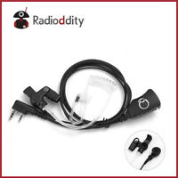 Acoustic Tube Earpiece PTT Mic Volume Knob for 2-Pin Ham Radio Baofeng Kenwood