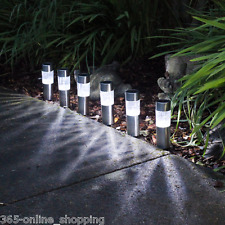 6 X SOLAR POWERED GARDEN LIGHTS POST PATIO OUTDOOR LED LIGHTING STAINLESS STEEL