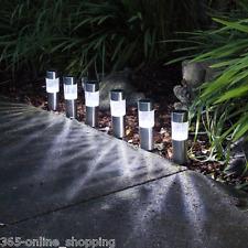 6 X Energía Solar Luces De Jardín Patio De Iluminación Led de exterior de correos de Acero Inoxidable