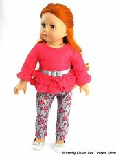 Lace Ruffle Top w/Belt + Flower Leggings 18 in Doll Clothes Fits American Girl