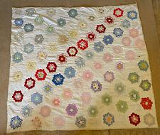 New listing Vintage Antique 30s 40s Hand Stitched Grandmas Flower Garden Quilt 65� X 71�