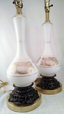 Vintage Pair Table Lamps Blown White Satin Glass Gold Design Made in France