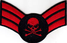 MILITARY INSIGNIA w/DEATH SKULL-CROSSBONES -BIKER- IRON ON EMBROIDERED PATCH