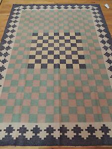 Kilim Reversible Area Rug  6x8, 6x9  Geometric checkerboard Green Yellow Pastel